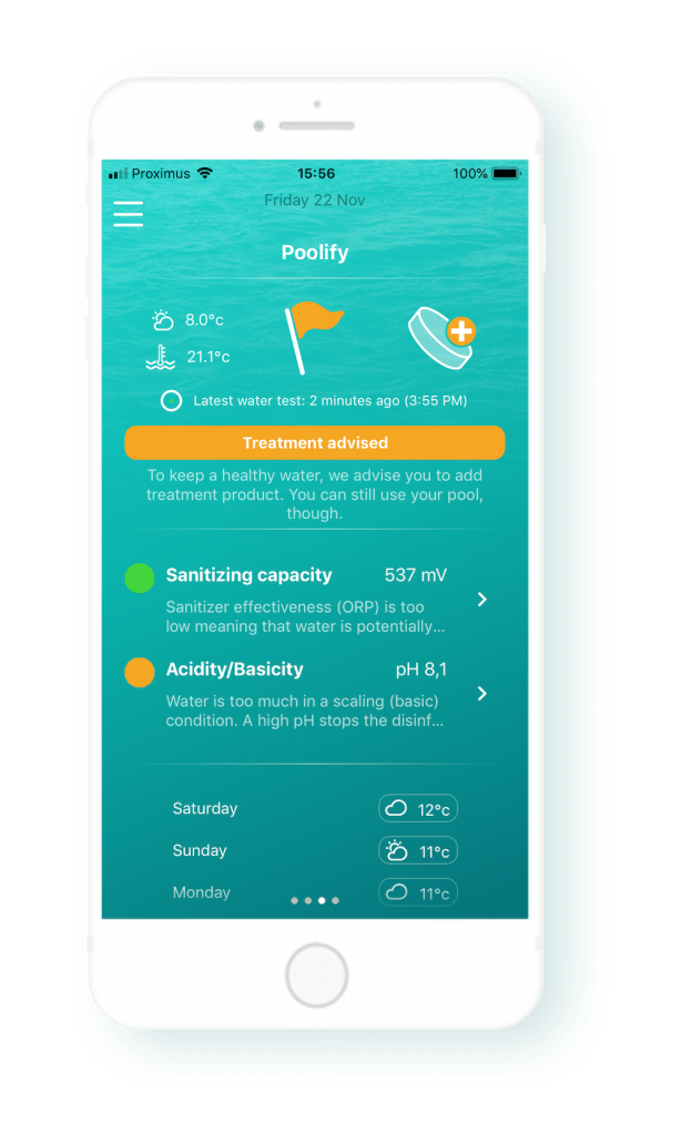 iopool app showing the analysis of your pool water